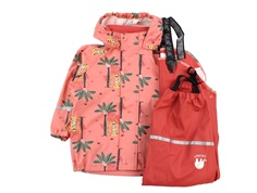 CeLaVi rainwear pants and jacket baked apple with palm trees