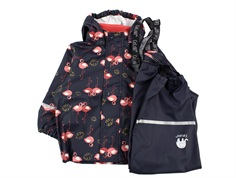 CeLaVi rainwear pants and jacket navy with flamingos