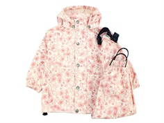 En Fant rainwear pants and jacket pink champagne with flowers
