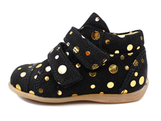 Pom Pom toddler shoe black gold dot with velcro